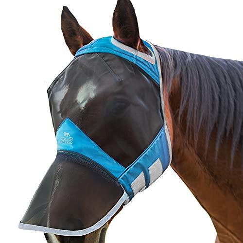 Harrison Howard CareMaster PRO Luminous Maschera Anti-Mosche per Cavallo UV Protezione con para Naso Cielo Blu (L; Full Size)