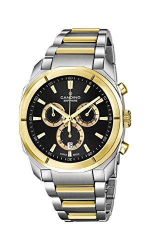 Candino-Orologio da uomo al quarzo con Display con cronografo e braccialetto in acciaio INOX Two Tone C4583/2