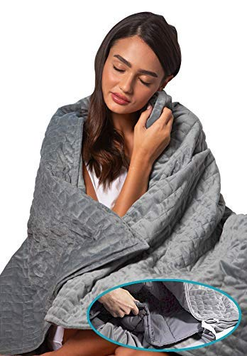 Dr. Hart's Weighted Blanket Deluxe Set Queen Size | Patented ContourWave with Luxurious Microplush Removable Cover | 15 lbs 60x80 | Heavy Blanket for Adults