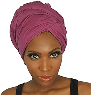 Glamom Turban Hijab for Women Long Stretchy Jersey Head Wrap hijab scarf Breathable Lightweight Turban Solid Colors