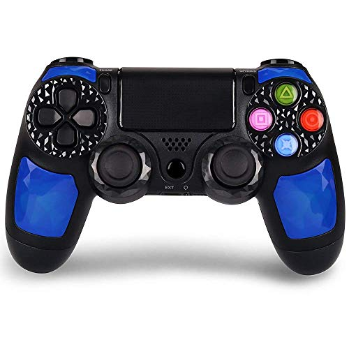 Controller für PS4, KINGEAR Wireless Pro Controller für PlayStation 4 USB Gamepad für PS4 mit Audio, Touchpanel Spielbrett, Rutschfester Griff, LED-Anzeige Blau