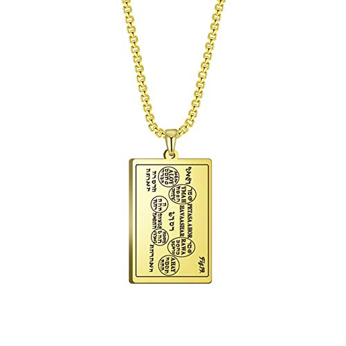Stainless Steel Talisman Necklace Amulet The Tenth Table Of The Spirits Of Mercury (6th And 7th Books Of Moses) Gold 60cm