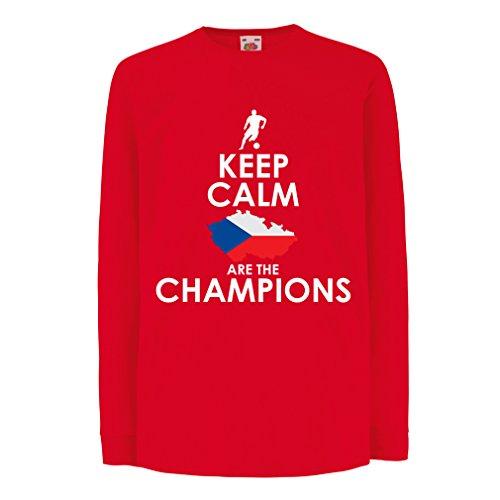 N4496D La Camiseta de los niños con Mangas largas Czechs Are The Champions (3-4 Years Rojo Multicolor)