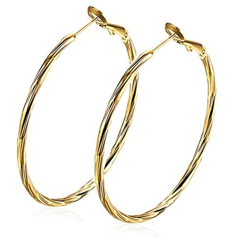 Boucles d'oreilles femme créoles avec or jaune plaqué Cadeau de bijoux pour les filles par Borong