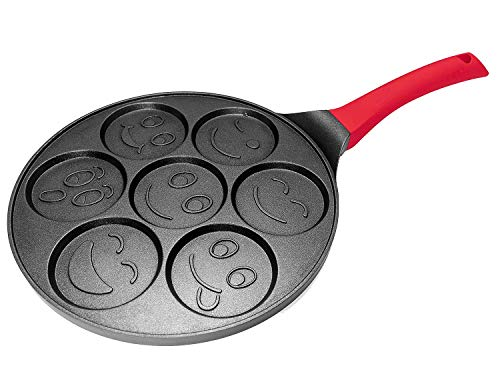 Emoji Pancake Pan with 7 Mini Molds NonStick Aluminum Griddle with HeatResistant Silicone Handle Fun Faces Breakfast Maker for Families and Kids