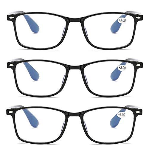 JTeam 3 Paar Computer Lesebrille Ultraleichte Und Flexible Distanzbrille TR90 Wiegt Nur 12g Unzerbrechlich UV-Schutzbrille Mann Frau (Color : Black, Size : 2.00X)
