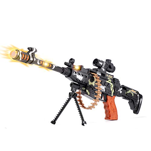 walnut li Gun Toys for Boys Combat Military Mission Machine Gun Toy with LED Flashing Lights and Sound Effects for Kids Playing