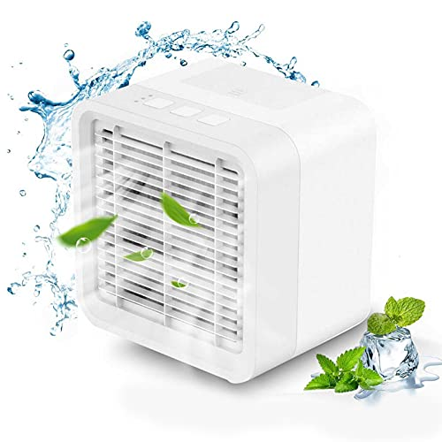 Portable Air Cooler, Mini Air Conditioner with 3 Fan Speeds,USB Rechargeable Water-Cooled Personal Cooler for Home Office Room