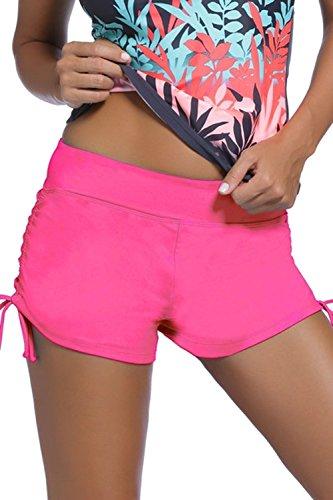 Damen Badehose Badeshorts Panty Shorts Kurze Hose Unterteil Kurz Uni Pink 48/50 (Etikett XXL)