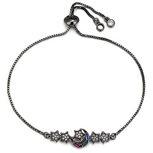Jewellery Bracelets Bangle For Womens Women Lady Lovers Moon And Stars Charm Bracelet Copper Cubic Zirconia Slider Chain Bracelets Party Wedding Jewelry Black