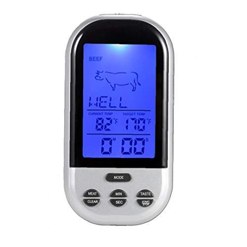 TS-BN52 Wireless Digital-Fleisch-Thermometer Grill-Thermometer Mit Alarm Timer Schnellen Und Genauen Lesen Proben Großen LCD-Thermometer Perfekt Für Das Grillen Backofen Küche Kochen Silber