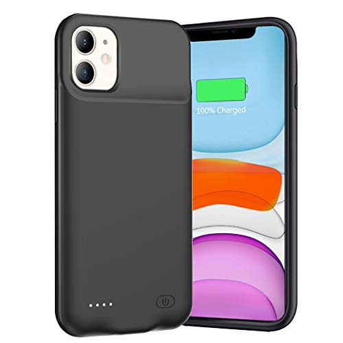 Battery Case for iPhone 11, 6500mAh Ultra-Slim Portable Charger Case Rechargeable Battery Pack Charging Case Compatible with iPhone 11 (6.1 inch)-Black
