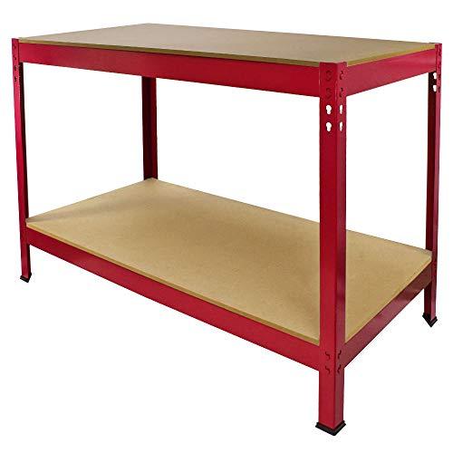 Werkbank Garage Tafel/Metalen Opslagruimte DIY Gereedschap Heavy Duty Werkbanken Werkplaats Schuur / 2 Planken 90cm x 120cm x 60cm Rood