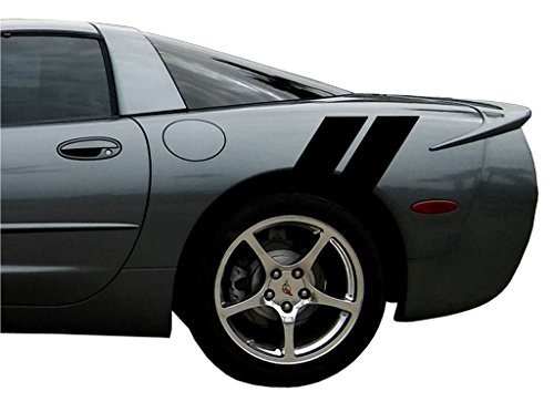 Clausen's World Rear Fender Hash Mark Double Bars Racing Stripes Vinyl Grand Sport Graphic Decals 4' (Fits Chevy Corvette C5) - Black