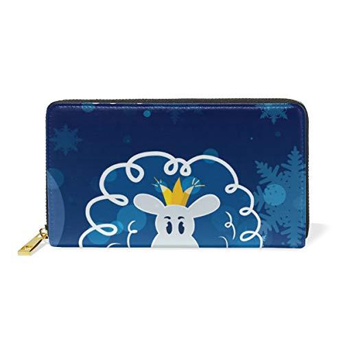 Año Nuevo Oveja Azul Billetera Mujer Cremallera Billetera de Cuero Cartera Teléfono Tarjeta de Credito Delgada Tarjetero para Chica Hombre