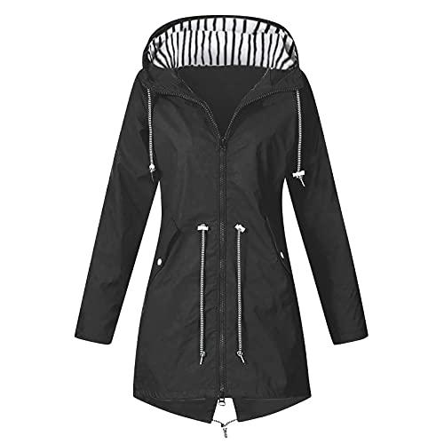 Women's Plus Size Raincoat Long Sleeve Zip Up Pocket Drawstring Windproof Top Solid Comfy Adjustable Fall Tunic Overcoat Black