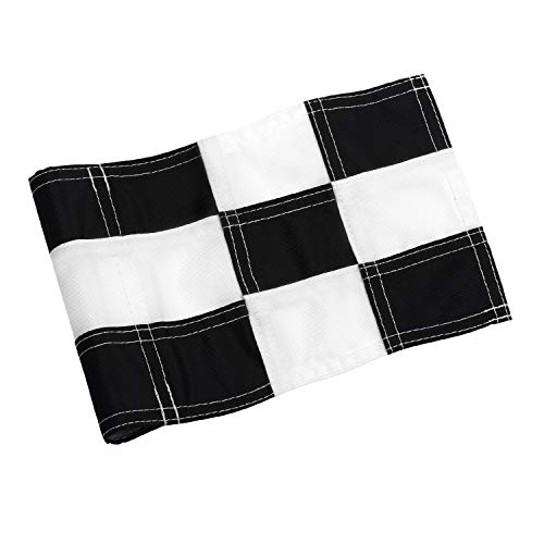 KINGTOP Checkered Golf Flag with Plastic Insert, Putting Green Flags for Yard, Indoor/Outdoor, Garden Pin Flags, 420D Premium Nylon Flag, 8 L x 6 H, White&Black