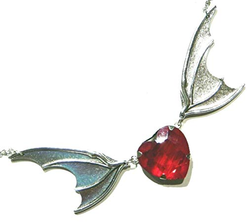 Red Acrylic Heart & Vampire Bat Wing Choker Necklace Chain Pendant Statement Gothic
