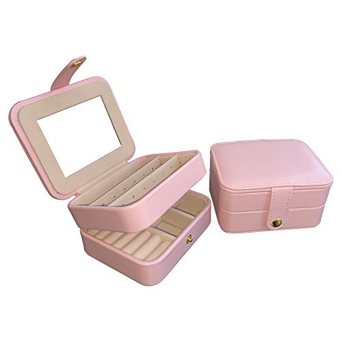 Dectenth Travel Jewelry Organizer Box for Women and Girls, Small Travel Jewelry Case with Mirror, PU Leather Portable Jewelry Storage Box for Ring, Earring, Necklace, Bracelet with Lock(Pink)