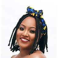 Cee Cee's Closet Headwrap| 100% Cotton | Headwraps For Women| Bandana (Shortie (72 in x 11 in), Gisele - Blue, Yellow, Black) (Gisele - Yellow, Black, Blue)