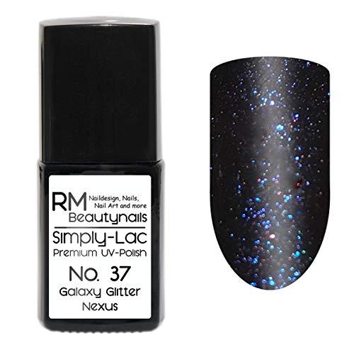 Simply-Lac Premium UV-Lack Nr. 37 Galaxy Glitter Nexus Schwarz Blau Lila 10ml Nagelgel UV-Nagellack
