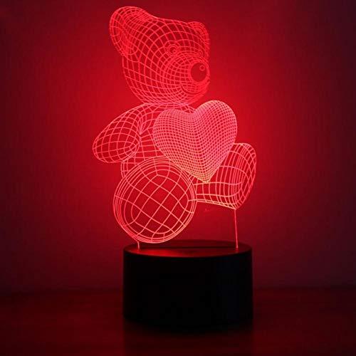 Yujzpl 3D-illusionslampa LED nattlampa, bästa julklappen 7 färger automatisk byte touch brytare skrivbord dekoration lampor födelsedagspresent, mysig och mycket vacker – kärlek björn