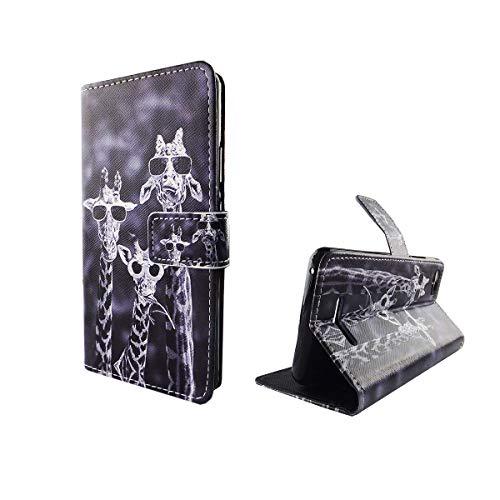 König Design Handyhülle Kompatibel mit Wiko Lenny 2 Handytasche Schutzhülle Tasche Flip Hülle mit Kreditkartenfächern - Lustige Giraffen
