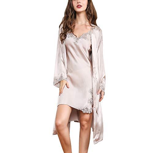 DISSA Damen Seide Nachtwäsche Nachthemd 100% Seide Spitze Seidenkleid Langarm S5522,Beige-2 Pcs,M