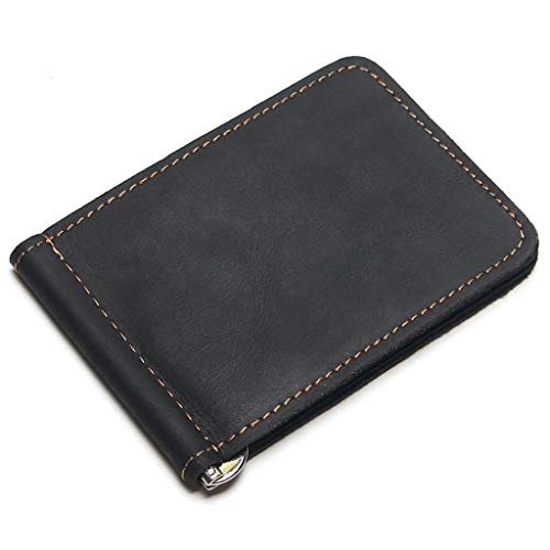 ZHANGQIAO-EU Congelada Pin Monedero Monedero Paquete de la Tarjeta de Clip Negocio (Color : Black)
