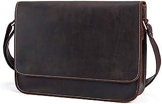 TOOGOO Genuine Leather Men's Shoulder Bag Male Satchels Handbag Bussiness Document Messenger Bag Men's Crossbody Bags for Men Black