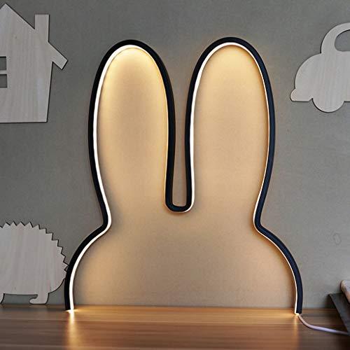Strele Conejo Luces De Noche LED Luz De Pared Creativa para Niños Niñas, Decoración del Hogar Lámpara De Escritorio Linda Enchufe USB Alimentado Atenuación Continua,Negro,with Remote Control