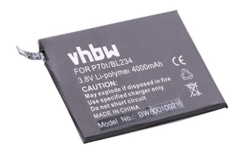 vhbw Li-Polymer Akku 4000mAh (3.8V) für Handy Smartphone Handy Lenovo A5000 Dual, Vibe P1m wie BL234.