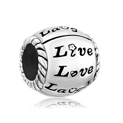 Poetic Charms 925 Sterling Silver Life Love Laughter Spiral Trinity Bule Crystal Charm Bead for European Bracelet Necklace