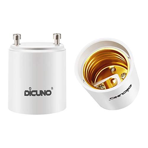 DiCUNO GU24 to E26 Adapter, GU24 LED Light Bulb Pin Base to E26 Standard Medium Socket Converter, 200W Maximum Wattage, 0-250V, 2 Packs
