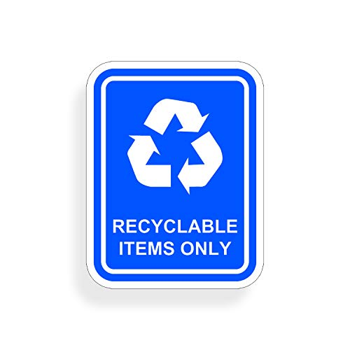 Recycling Items Only Sticker Vinyl Die Cut Recycling Decal with Recycle Logo Label Home Office Work