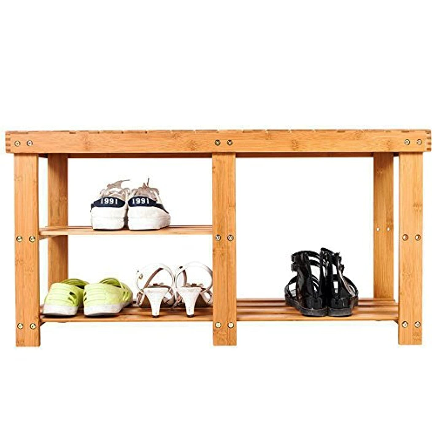 Bonnlo 3-Tier Bamboo Shoe Bench, Shoe Organizer, Storage Shelf Holds Up to 330 Lbs, Ideal for Entryway Hallway Bathroom Living Room and Corridor