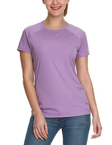 BALEAF Damen UV Shirt UPF Sonnenschutz Kleidung Kurzarm Lila L