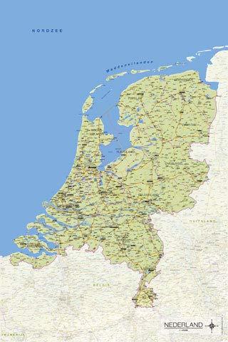 Landkaart van Nederland – Kaart Van Nederland – Poster Print – Grootte 61×91,5 cm