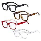 Eyekepper 4 Pack Ladies Reading Glasses - Oversized Square Design Readers for Women