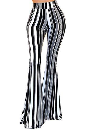 Vivicastle Women's USA Boho 3rd Hippie Wide Leg Flared Bell Bottom Pants (L2, Multi, Medium)
