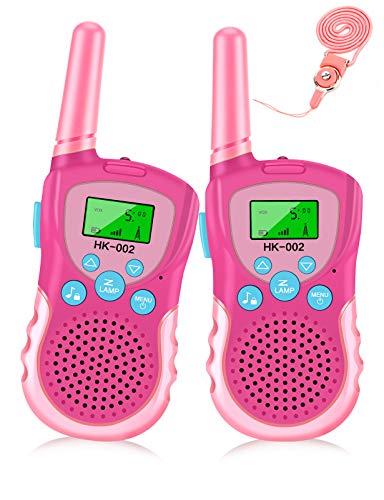 Luclay Walkie Talkies für Kinder 22 Kanal Funkgerät mit Hintergrundbeleuchteter LCD-Taschenlampe, 3 Meilen Reichweite für Abenteuer im Freien und Camping Für Junge Mädchen Spielzeug, 2 Paket (Rosa)