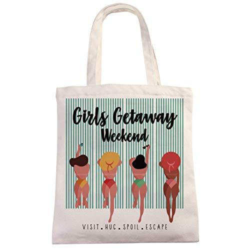 Funny Girls Getaway Weekend Natural Cotton Canvas 12 oz reutilizable bolsa Tote Bag – Cute Girls Weekend Trip Tema Girls Getaway Bolsa de regalo para niñas y mujeres