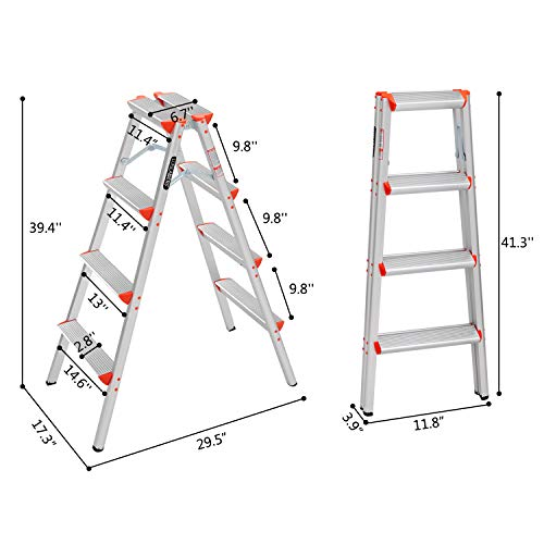 LUISLADDERS Step Ladder Folding Step Stool Lightweight Aluminum Home and Kitchen Multi Purpose Portable 4 Step Ladders (330lbs)