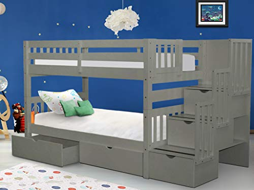 Bedz King Stairway Bunk Beds Twin over Twin with 3 Drawers in the Steps and 2 Under Bed Drawers, Gray