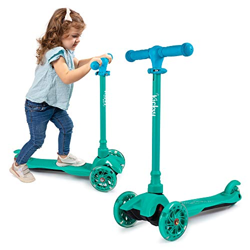 KicksyWheels Scooters for Kids - 3 Wheel Toddler Scooter for Boys & Girls - Toddlers and Kids Toys for 2 Years Old and Up - Three Heights & Light Up Wheels (Pacific Teal, w/o Seat)