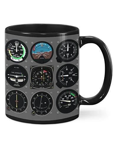 Pilot Indicator Mug, Funny Pilot Meter Aircraft Flight Deck Gifts For Men Women Kids Ceramic Coffee 11-15 Oz Mug