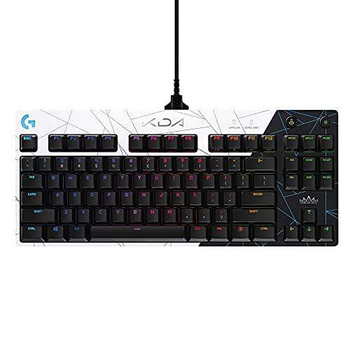 Logitech G PRO K/DA Clavier Gaming Mécanique, Équipement Officiel de League of Legends, Clavier US International QWERTY - Noir/Blanc