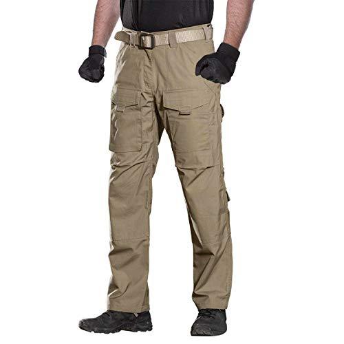 FREE SOLDIER Pantalon de Plein air à Poches Multiples pour Hommes Pantalon de Travail en Cargo en téflon Pantalon Tactique imperméable Randonnée Pantalon d'escalade(Améliorer-Marron,EU48 UK33)