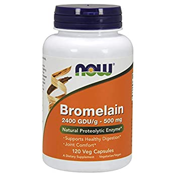 NOW Supplements Bromelain  Natural Proteolytic Enzyme  2,400 GDU/g - 500 mg Natural Proteolytic Enzyme* 120 Veg Capsules