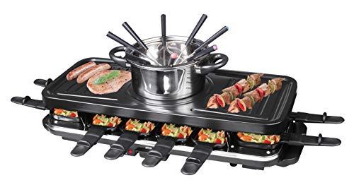 Silva-Homeline PK-RF 120 elektrisches 3 in 1 Multifunktionsgerät 12-er Raclette mit Fondue und Grill, schwarz